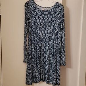 Blue Long Sleeve Swing Dress